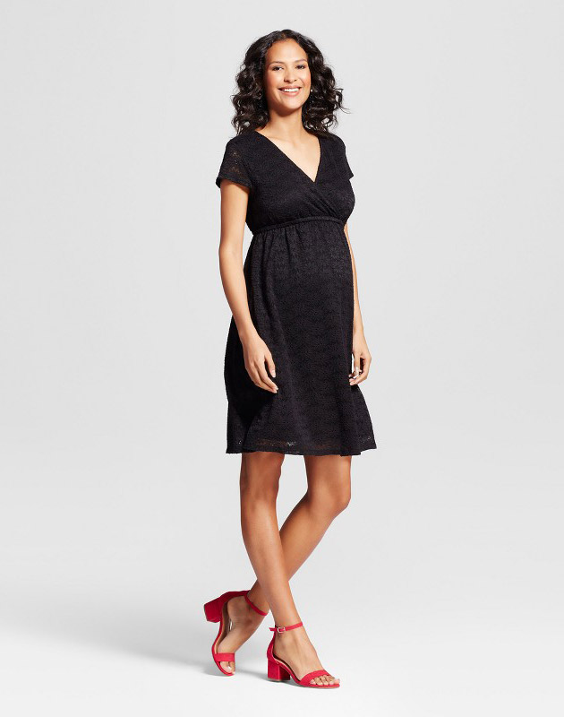 73d2938170f3a photo Maternity Lace Swing Dress by Isabel Maternity by Ingrid & Isabel,  color Black -