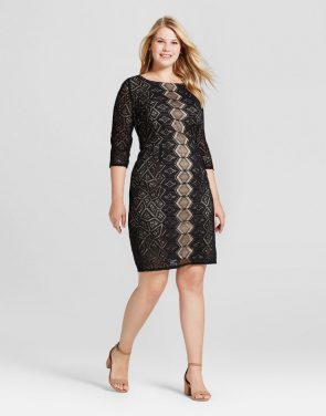 photo Plus Size 3/4 Sleeve Lace Dress by Melonie T, color Black - Image 1