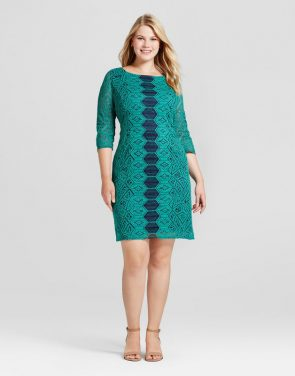 photo Plus Size 3/4 Sleeve Lace Dress by Melonie T, color Green - Image 1