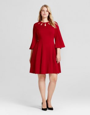 photo Plus Size Bell-Sleeve Fit and Flare A Line Dress by Melonie T, color Red - Image 1