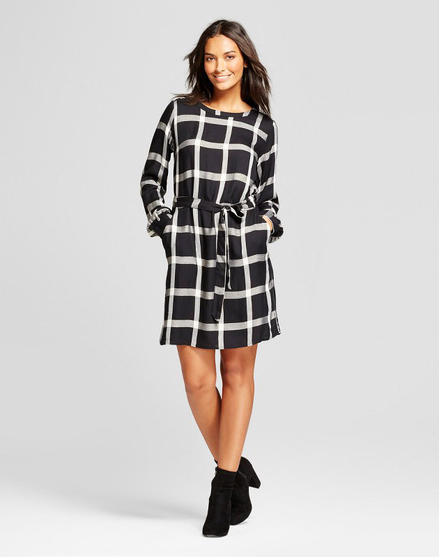 photo Plaid Tie Waist Dress with Shine by A New Day, color Black Plaid - Image 1