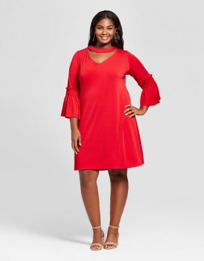 photo Plus Size Choker Neckline A Line Dress by Melonie T, color Red - Image 1