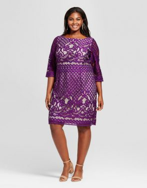 photo Plus Size 3/4 Sleeve Lace Sheath Dress by Melonie T, color Purple - Image 1