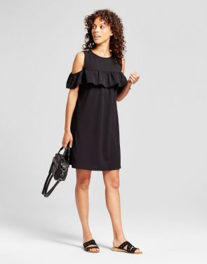 photo Cold Shoulder Ruffle Dress by Alison Andrews, color Black - Image 1