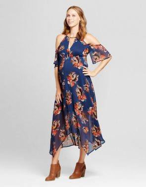 photo Maternity Floral Hanky Hem Dress Navy by Fynn & Rose, color Blue - Image 1