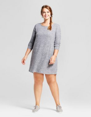 photo Plus Size Long Sleeve Rib Dress by Xhilaration, color Heather Gray - Image 1