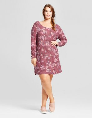photo Plus Size Long Sleeve Rib Dress by Xhilaration, color Burgundy Floral - Image 1