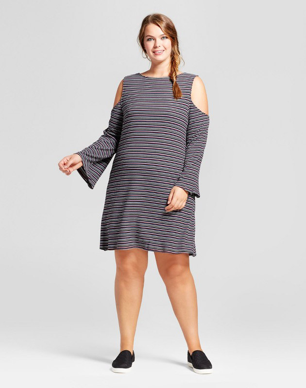 photo Plus Size Rib Knit Cold Shoulder Long Sleeve Dress by Xhilaration, color Black Stripe - Image 1