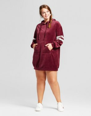 photo Plus Size Velour Sweatshirt Dress by Xhilaration, color Burgundy - Image 1
