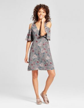 photo Floral Cold Shoulder Sheath Dress by Alison Andrews, color Gray/Pink - Image 1