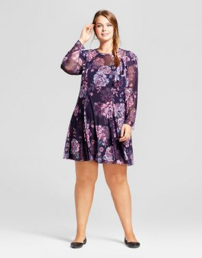photo Plus Size Printed Mesh Dress by Xhilaration, color Navy Rose Print - Image 1