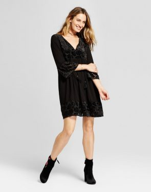 photo Burnout Velvet Peasant Dress by Knox Rose, color Black - Image 1