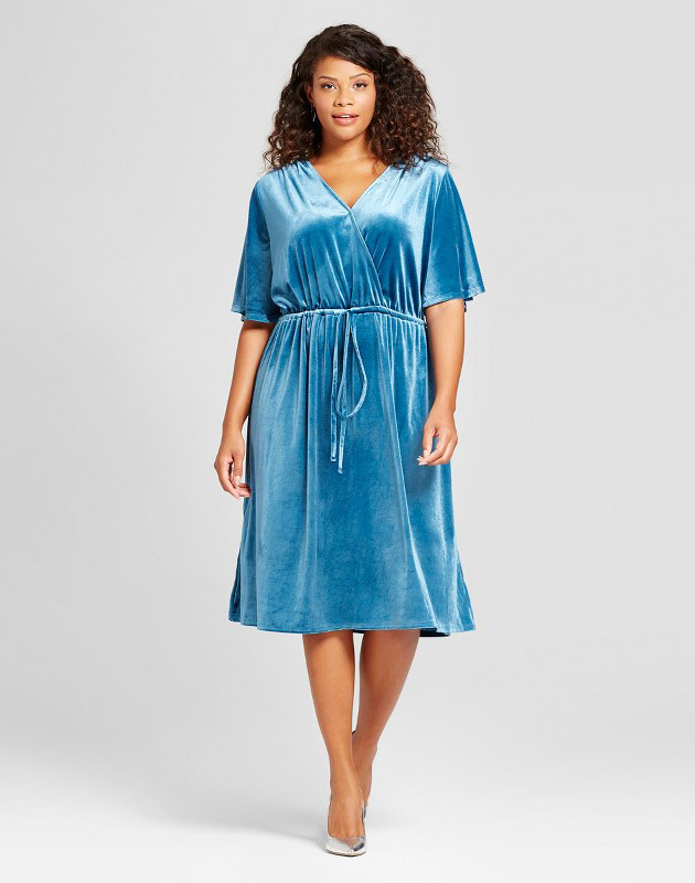 photo Plus Size Velvet Wrap Dress by Ava & Viv, color Blue - Image 1