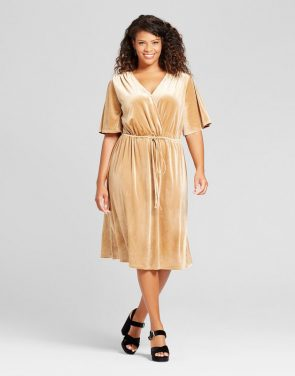 photo Plus Size Velvet Wrap Dress by Ava & Viv, color Gold - Image 1