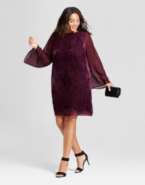 photo Plus Size Burnout Velvet Sheer Sleeve Dress by Ava & Viv, color Burgundy - Image 1