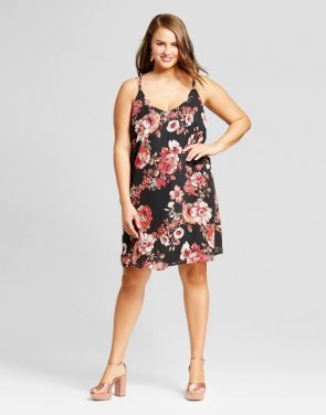 photo Plus Size Floral Print Cross Back Shift Dress by Xhilaration, color Multi - Image 1