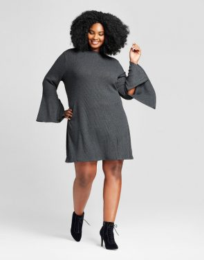 photo Plus Size Bell Sleeve Ribbed Dress by Ava & Viv, color Dark Heather Grey - Image 1