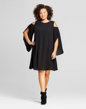 photo Plus Size Cold Shoulder Dress by Ava & Viv, color Black - Image 1