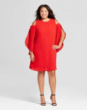 photo Plus Size Cold Shoulder Dress by Ava & Viv, color Ripe Red - Image 1
