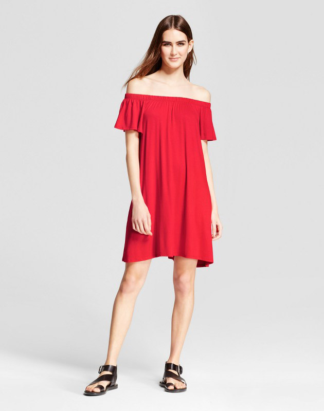photo Off the Shoulder Dress by Vanity Room, color Red - Image 1
