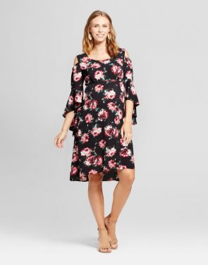 photo Maternity Floral Cold Shoulder Flared Sleeve Dress by Fynn & Rose, color Black - Image 1