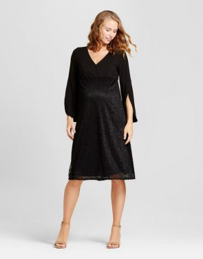 photo Maternity Lace Bell Sleeve Dress by Fynn & Rose, color Black - Image 1