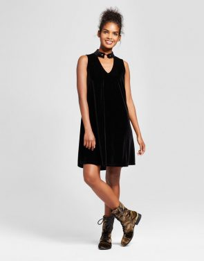 photo Velvet Cutout Shift Dress by Xhilaration, color Black - Image 1