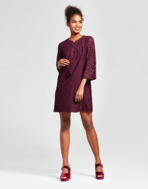 photo Lace-Up Shift Dress by Xhilaration, color Burgundy - Image 1