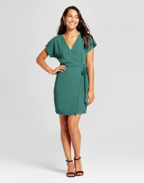 photo Woven Wrap Dress with Tie Waist by Loramendi, color Hunter Green - Image 1