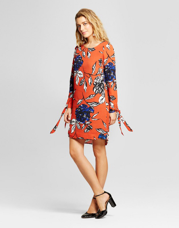 photo Floral Printed Tie Sleeve Shift Dress by Loramendi, color Orange Combo - Image 1