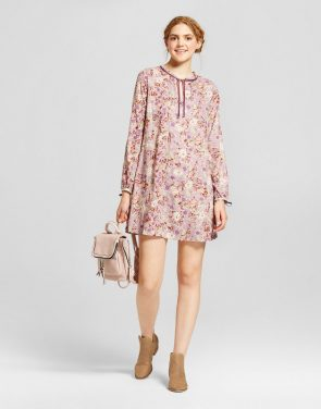 photo Printed Long Sleeve Dress by Mossimo Supply Co., color Mauve (Pink) - Image 1
