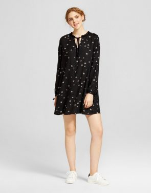 photo Printed Long Sleeve Dress by Mossimo Supply Co., color Black - Image 1