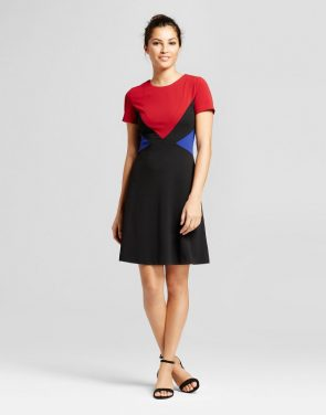 photo Short Sleeve Scuba Crepe Color Blocked Dress by Spenser Jeremy, color Black Red - Image 1