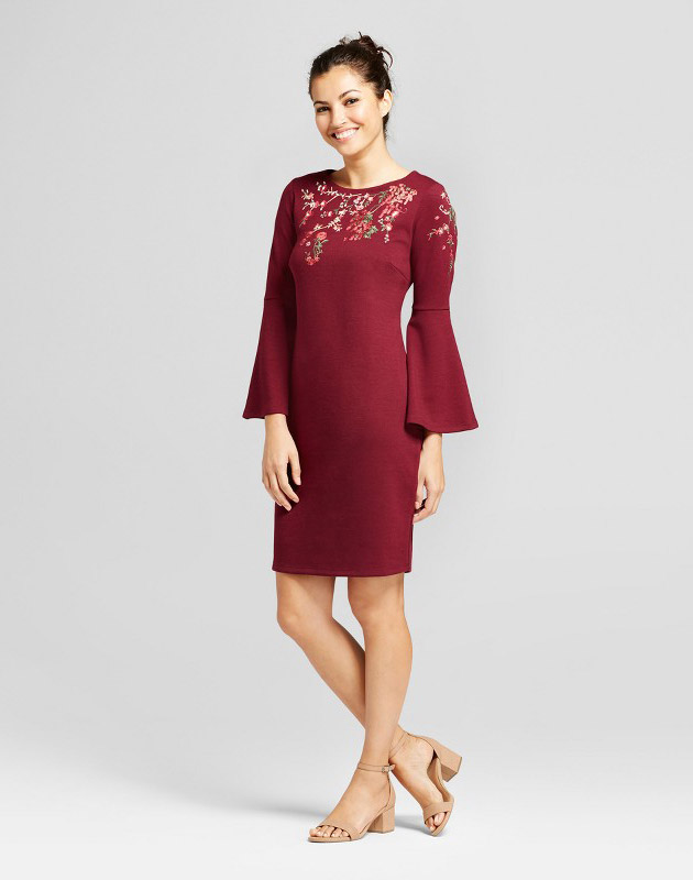 photo Embroidered Ponte Flutter Sleeve Sheath Dress by Spenser Jeremy, color Wine Red - Image 1