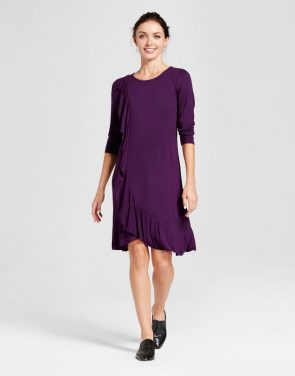photo Side Ruffled Knit Dress by Spenser Jeremy, color Purple - Image 1