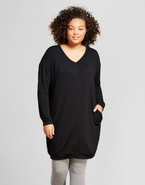 photo Plus Size Long Sleeve Cozy Dress -Ava & Viv, color Black - Image 1