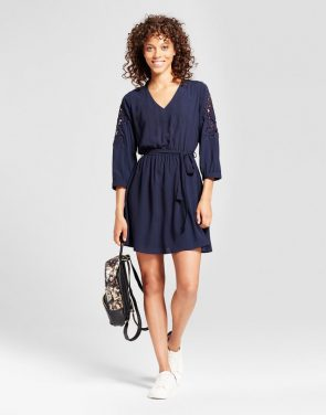 photo Crochet Patch Shoulder Tie Waist Dress by Eclair, color Navy - Image 1