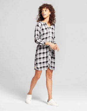 photo Plaid Tie Waist Dress by Eclair, color Black/White - Image 1