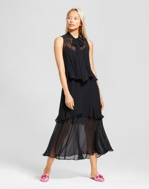 photo Tiered Ruffle Midi Dress- Who What Wear, color Black - Image 1