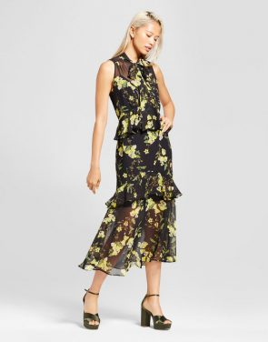 photo Tiered Ruffle Midi Dress- Who What Wear, color Black/Yellow Floral - Image 1