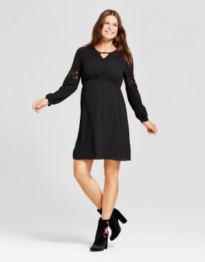 photo Maternity Long Sleeve Keyhole Neck Dress by MaCherie, color Black - Image 1