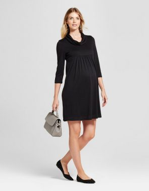 photo Maternity 3/4 Sleeve Cowlneck Dress by MaCherie, color Black - Image 1