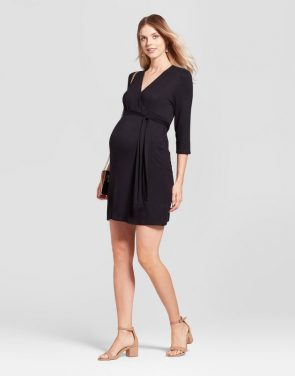 photo Maternity 3/4 Sleeve V-Neck Dress MaCherie, color Black - Image 1