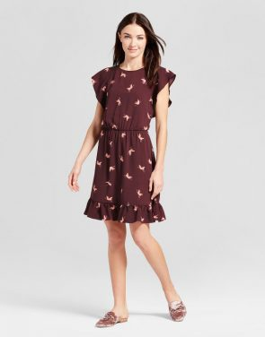 photo Crepe Flutter Sleeve Dress by A New Day, color Burgundy - Image 1