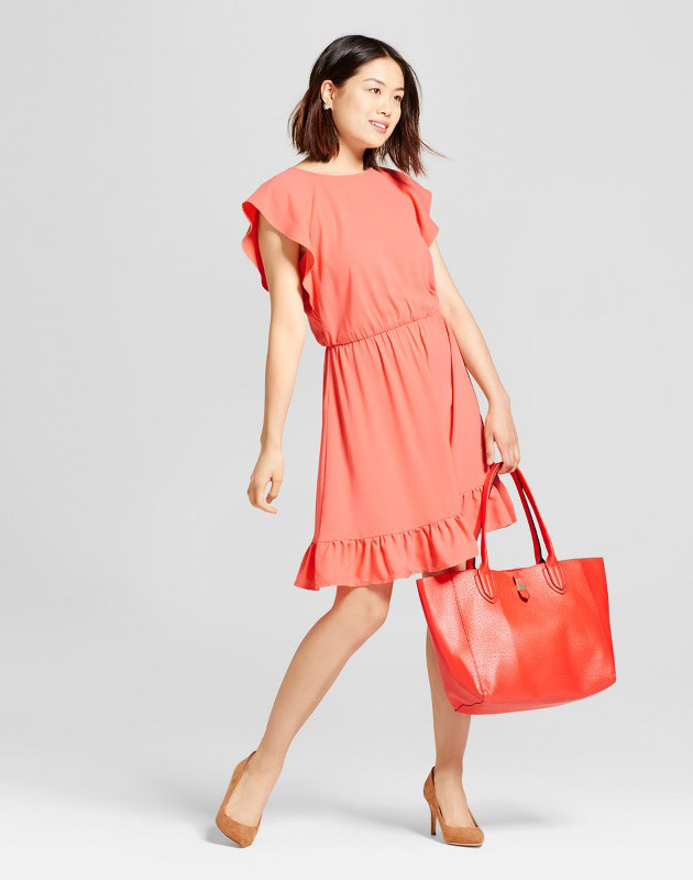 photo Crepe Flutter Sleeve Dress by A New Day, color Coral - Image 1