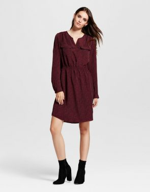 photo Printed Convertible Sleeve Shirt Dress by Mossimo, color Burgundy - Image 1