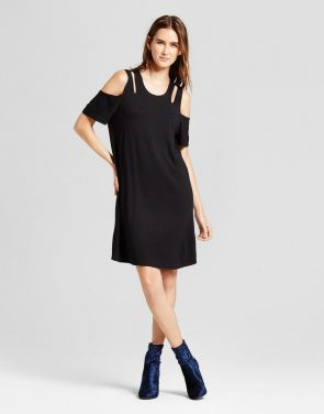 photo Cold Shoulder Cutout Swing Dress by Alison Andrews, color Black - Image 1
