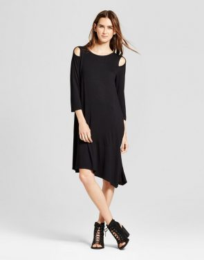 photo Asymmetrical Cutout Dress by Alison Andrews, color Black - Image 1