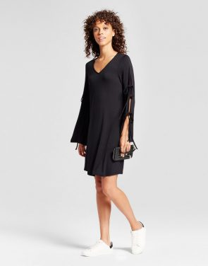photo V-Neck Tie Sleeve Shift Dress by Alison Andrews, color Black - Image 1
