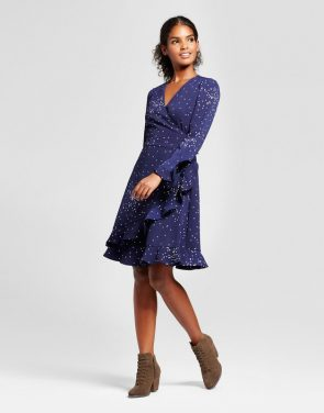 photo Polka Dot Wrap Dress with Ruffle Cuff by K by Kersh, color Navy/White - Image 1